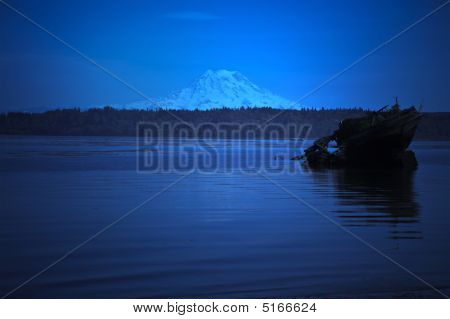 Mount Rainer Moonlit