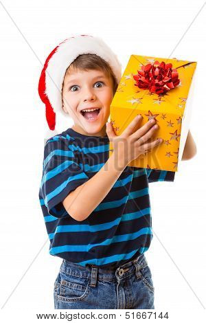 Smiling boy with gift box