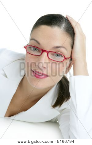 Beautiful White Suit Businesswoman Portrait