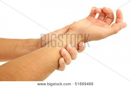 Young man with hand pain, isolated on white