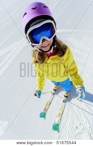 Ski, ski resort, winter sports - child on ski vacation