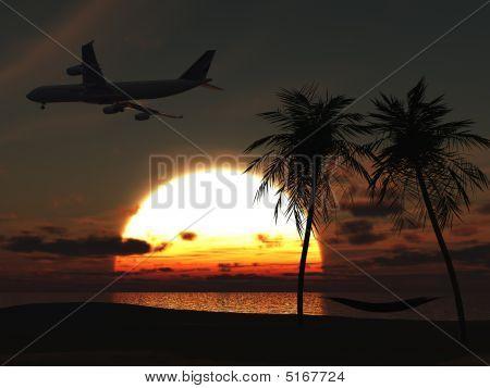 Flugzeug über tropischen Strand bei Sonnenuntergang.