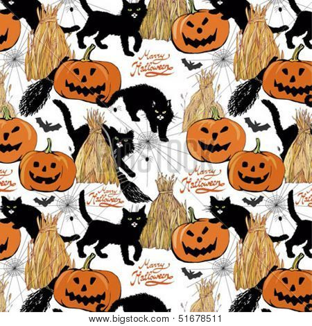colorful halloween seamless background with pumpkins and cats