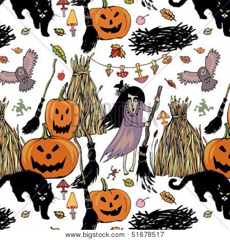 halloween seamless background with witches, pumpkins and cats