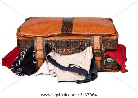 Overstuffed Baggage Isolated