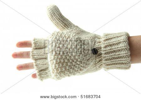 Hand in wool fingerless gloves, isolated on white