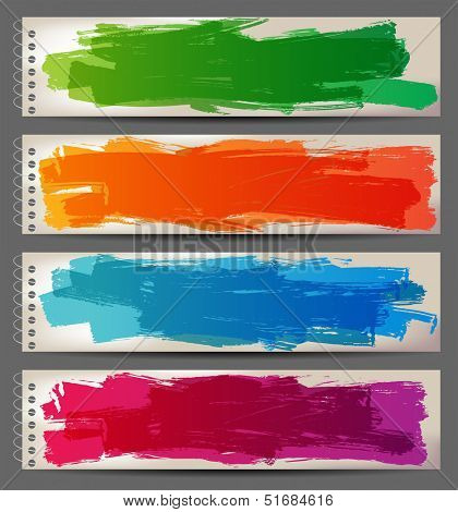 4 bright banners with hand drawn brush strokes