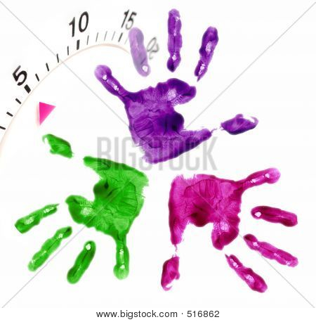 3 Painted Hands Under Time Line