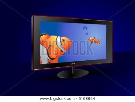 Flat Screen Tv With Fishes On The Screen