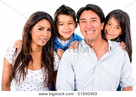 Happy Latin family smiling - isolated over a white background