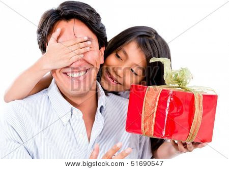 Happy girl giving her father a surprise present - isolated over white