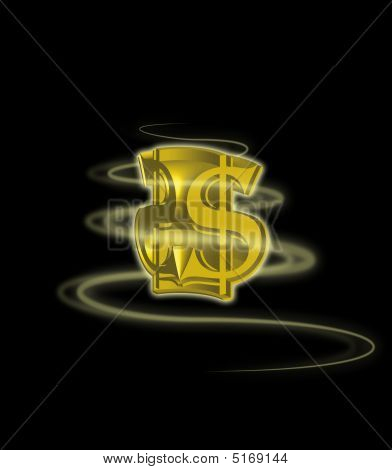 3D Gold Dollar Sign With Swirl On Black