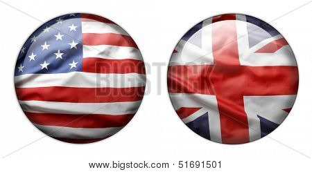U.S. and British flag buttons isolated on white