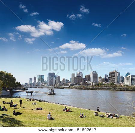 Brisbane Skyline From The Park
