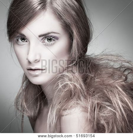 Closeup portrait of sexy whiteheaded young woman  on grey background