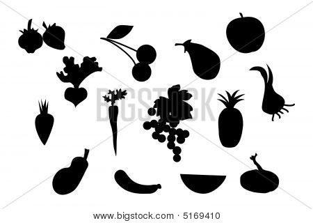 Set Of Fruit And Vegetable Silhouette