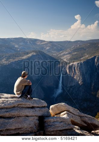 Young Hiker Overlooking Yosemite Falls