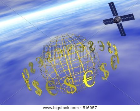 Dollar, Euro Around World With Satellite.