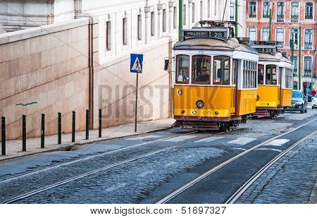 Electrico 28, Yellow Tram, Lisbon, Portugal