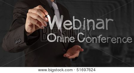 Hand Writing Webinar With Crumpled Paper Background