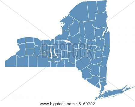 New york state map by counties color blue long island. download preview