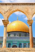 Famous Dome of the Rock mosque in Old City of Jerusalem, Israel (vertical composition).