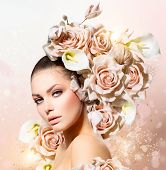 foto of bouquet  - Fashion Beauty Model Girl with Flowers Hair - JPG