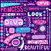 stock photo of girly  - Princess Fairy Tale Diva Word Doodles Lettering with Tiara - JPG