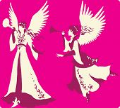 stock photo of angel-trumpet  - Beautiful angels silhouettes set with trumpet for design - JPG