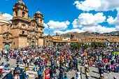 Cuzco, Peru - July 12, 2013: people at festival  in the Plaza de Armas at Cuzco Peru on july 12th, 2
