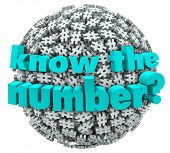 pic of hashtag  - The words Know the Number on a ball or sphere of hashtags or pound signs to illustrate a customer service phone number or answer to a math question - JPG