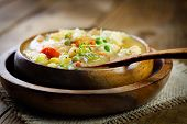 stock photo of stew  - Chicken and veteable stew soup - JPG