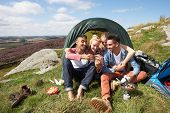 stock photo of sleeping bag  - Group Of Young People Checking Mobile Phone On Camping Trip - JPG