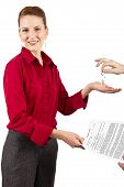stock photo of deed  - woman holding a generic deed of sale contract - JPG