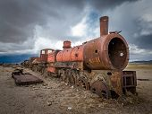 stock photo of locomotive  - Highly detailed image of Train cemetery Uyuni Bolivia - JPG