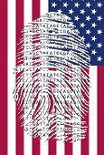 picture of dna fingerprinting  - US Banner and Genetic Letters in fingermark - JPG