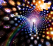 picture of life after death  - Man before giant keyhole in space abstract - JPG