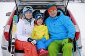 picture of family ski vacation  - Winter - JPG