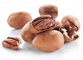 stock photo of pecan  - Pecan nuts isolated on a white background - JPG