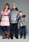 foto of down jacket  - Children in winter clothes - JPG