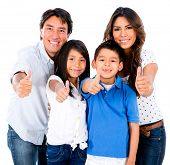 image of toothless smile  - Happy family portrait with thumbs up  - JPG