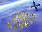 Dollar, Euro Around World With Satellite.