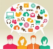 stock photo of bubbles  - Social media icons in speech bubbles with group of people - JPG