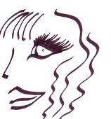 image of good-looker  - A drawing of a face and hair I made in ink - JPG