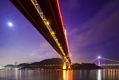 image of tsing ma bridge  - Bottom view of the suspension bridge - JPG