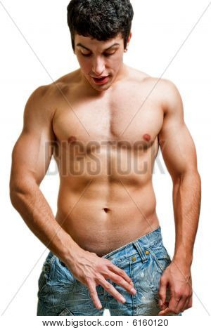 Potency And Penis Size Concept - Man Looking In His Pants