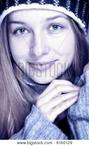 Winter Portrait Of Beautiful Happy Young Woman