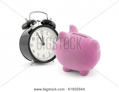 Piggy bank with alarm clock