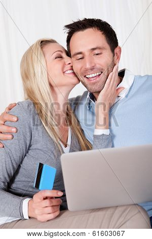 Couple Having Fun Shopping Online