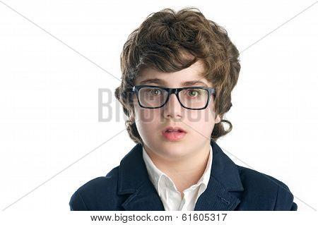 Serious nerd with glasses over white background